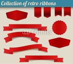 Collection of red vector retro ribbons and tags