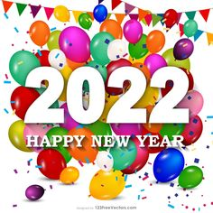 Free Happy New Year 2022 Colorful Balloons Background