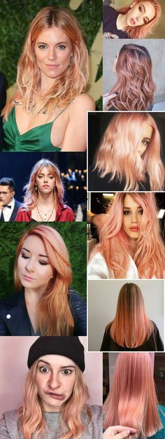 blorange colour hair Peach Hair, Rose Gold Hair, Pink Hair, Yellow Hair Color, Hair Colour, Blorange Hair, Haircut And Color, Funky Hairstyles, Hair Inspiration