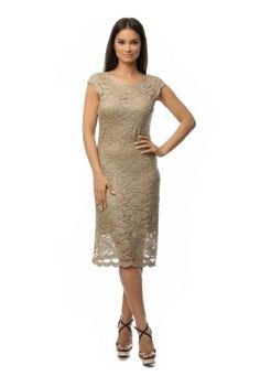 Rochie eleganta din dantela CSF-120 crem -  Ama Fashion High Neck Dress, Dresses For Work, Fashion, Moda, Fashion Styles, Fashion Illustrations, Fashion Models, High Neckline Dress