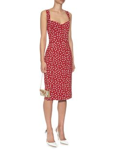 Polka-dot print crepe dress   Dolce & Gabbana   MATCHESFASHION.COM UK Polka Dot Print, Polka Dots, Little Red Dress, Crepe Dress, My Wardrobe, Women Wear, Stylists, Bodycon Dress, Summer Dresses