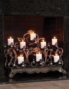 Led candles on a pretty stand for our fireplace | For the Home ...