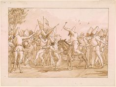 Giovanni Domenico Tiepolo | Punchinello Riding on an Ass in Procession of His Fellows | Drawings Online | The Morgan Library & Museum