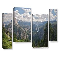 Yosemite-Half Dome, Vernal Falls and Nevada Falls by Dan Wilson 4 Piece Photographic Print Gallery Wrapped on Canvas Set