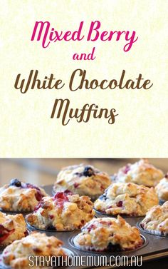 Our Mixed Berry and White Chocolate Muffins is not exactly a frugal – but it would be nice for a special occasion like a birthday or Christmas Day! White Chocolate Muffins, Chocolate Cups, No Bake Desserts, Dessert Recipes, Berry Muffins, Mixed Berries, Muffin Recipes, Food Cravings, Baked Goods