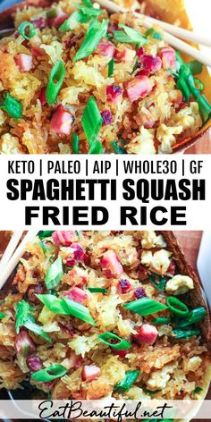 Spaghetti Squash Fried Rice is a favorite-flavored Asian dinner everyone will love! This meal is Keto, Paleo, Whole30, Gluten-free, Low Carb, AIP and GAPS-friendly. | Eat Beautiful || #friedrice #spaghettisquash #keto #lowcarb #paleo #whole30 #aip #gapsdiet
