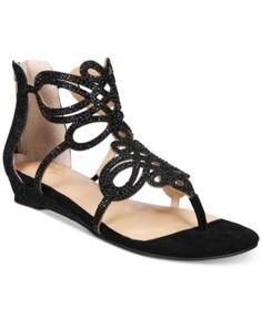 Thalia Sodi Laylan Scallop Wedge Sandals, Only at Macy's - Black 7.5 W