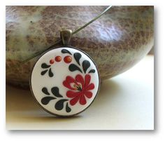 Flower Jewelry- Hungarian embroidery pattern, polymer clay Jewelry- Red Flower Pendant- Red and White- MADE TO ORDER