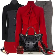 """Red Blouse 1"" by angkclaxton on Polyvore"