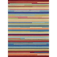 @Overstock.com - Primary materials: 100-percent polyester  Pile height: 0.50 inches  Style: Transitional  http://www.overstock.com/Home-Garden/Peony-Multi-Stripe-Rug-76-x-96/6193433/product.html?CID=214117 $370.99 - looking for a living room rug