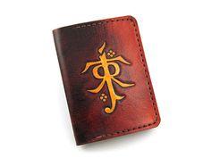 fan out credit card holder. leather credit card holder with tolkien hobbit vintage design. fan out d