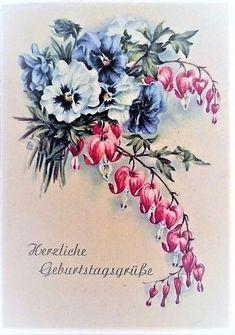 Vintage Blume Tattoo, Vintage Flower Tattoo, Vintage Flowers, Floral Flowers, Flower Art, Paper Flowers, Vintage Cards, Vintage Postcards, Flower Line Drawings