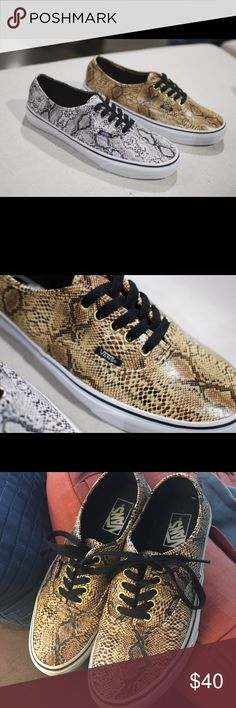 """VANS AUTHENTIC """"SNAKESKIN"""" - Men's 7/Women's 8.5 EUC.   I don't have original box but I have a Vans box from another pair to give you.   From Sneaker News:   Vans continues its push into the Year of the Snake with two new renditions of the brand's original silhouette.  The Vans Authentic is the next canvas upon which scales have been applied, silver and gold editions closer to a real reptile than some of the more colorful examples we've seen approaching the YOTS.  Still, they have no…"""