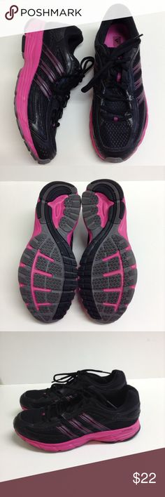 Adidas Falcon running shoes size 8 1/2 pink black Adidas Falcon running shoes size 8 1/2 pink black. Like new!! adidas Shoes Athletic Shoes