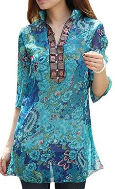 VonFon Womens Retro Floral Print Casual Top | Fashion Finds from Selena