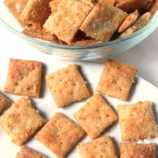 Crunchy Parmesan Crackers - You'd never know these tender/crisp, very cheese-y crackers are 100% whole wheat.