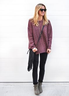 cable knit sweater & distressed skinny jeans (both on sale!) / LivvyLand