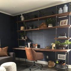 Room Interior Design, Home Office Design, Home Office Decor, Office Designs, Office Furniture, Black Pipe Shelving, Custom Butcher Block, Custom Shelving, Built In Desk