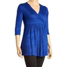 GLAM Royal Blue Surplice Tunic ($25) ❤ liked on Polyvore featuring tops, tunics, plus size, pintuck tunic, stretch top, plus size long tops, royal blue tunic and electric blue top