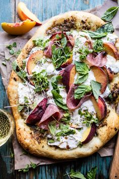 Peach Burrata Pizza with Honey Balsamic   halfbakedharvest.com @hbharvest
