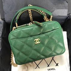 b7d7c5fd868a Chanel Grained Calfskin Small Bowling Bag Green 2017