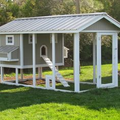 Gray & White Country Chicken (and animals) Coop