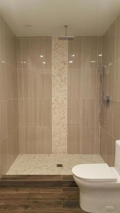 Large Sliced White Pebble Tile Luxury Shower