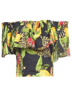 Top Amanda, Isolda.O top estampado é confeccionado em tricoline de modelo ombro a ombro. Esta peça possui babados com elástico no decote, detalhe de lastex nas laterais com estampa de frutas e onça.Compre Top Isolda no Online Marketplace Shop2gether.SKU: 1AMA1710_ONCAComposição: 98% Algodão 2% ElastanoCor: OnçaMarca: Isolda