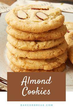 Almond Recipes, Baking Recipes, Cookie Recipes, Dessert Recipes, Almond Cookies, Delicious Cookies, Delicious Desserts, Bar Cookies, Chocolate Cookies
