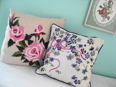 vintage crewel pillows
