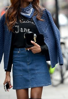 perfect modern-day '70s look with a denim mini and bandana