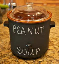 Redo Your Crockpot -- paint an old crock pot with chalkboard paint! I should do this, love the idea of labeling what's in it.
