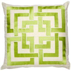 Trina Turk Pillow Embroidered Shanghai Links Green PH24TT06DC20SQ