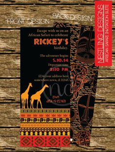African Safari Invitation Suite // Printable PDF // Birthday or Special Occasion by NestlingDesigns on Etsy https://www.etsy.com/listing/188958019/african-safari-invitation-suite