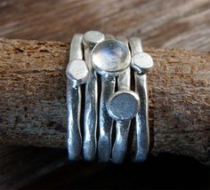 Set of 5 Organic Pebbles Stacking Sterling Silver Rings- Rainbow Moonstone. $85.00, via Etsy.