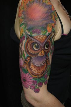 The colors, the shape, the lines, the placement- immaculate. Glow Tattoo, Forearm Tattoos, Tattoo Inspiration, Watercolor Tattoo, Tatting, Owls, Tattoo Ideas, Colorful, Shape
