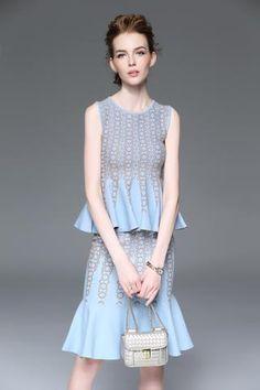 Bodycon Sleeveless Top Fishtail Skirt Suits