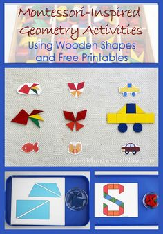 Today, I want to share some ideas for using wooden shapes and free printables to create Montessori-inspired geometry activities. Rainbow Activities, Geometry Activities, Train Activities, Color Activities, Autumn Activities, Preschool Activities, Addition Activities, Summer Activities, Montessori Preschool