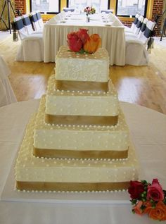 Champagne Cake - would add red red ribbon and ivory roses