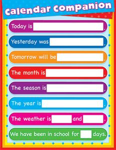 Calendar Companion Chartlets Curriculum Gr Pk-2