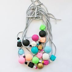 Make these pretty wooden beaded necklaces with DIY t-shirt yarn!