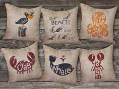 burlap beach pillows to bring a little beach cottage style to your urban retreat!  #beachhouse #cottagechic #bourbonandboots