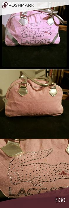 Pink Lacoste ladies shoulder bag with rhinestones Excellent condition only wearn a couple times and still as brand new. Only one little spot in the front but except for that is one of the most beat bags in the world!! Pending sale!! Lacoste Bags Shoulder Bags