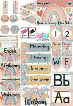 WackyNix Boho Reenboog Klas Dekor by WackyNix   Teachers Pay Teachers Presentation Format, Hall Pass, Welcome Banner, Class Decoration, New Theme, Afrikaans, Months In A Year, Teacher Newsletter, Life Skills