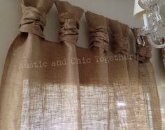 Burlap Curtains -Wide Ruched tabs