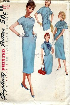 Vintage 1956 Wiggle Sheath Dress Shaped Side Pockets...Cape and Tailored Jacket...Simplicity 1530 Bust 31 UNCUT