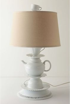 Cozy Lamp Made Of Tea Cups And Pots