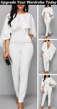 Shop today and get started. Shop today and get started. Classy Outfits, Chic Outfits, White Jumpsuit, White Overalls, Vetement Fashion, Fashion Mode, Party Fashion, Looks Chic, African Dress