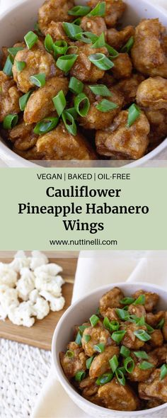 These Pineapple Habanero Cauliflower Wings are deliciously sweet and spicy! Bring some Hawaiian Island flavor to your next BBQ or potluck, I'm sure everyone will be clamoring over these! Easy Vegan Lunch, Vegan Lunch Recipes, Vegan Snacks, Vegan Dinners, Easy Dinner Recipes, Hawaiian Dishes, Hawaiian Recipes, Cauliflower Wings, Cauliflower Recipes