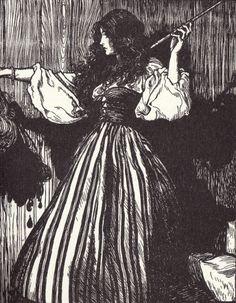 Arthur Rackham Illustration for: Grimm's Fairytales: la fanciulla impugna la bacchetta magica